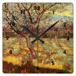 Albaricoqueros en flor de Van Gogh Relojes De Pared