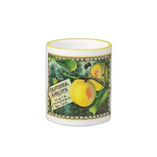 Albaricoques de California - etiqueta del cajón de Taza A Dos Colores