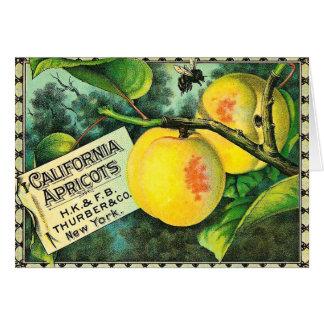 Albaricoques de California - etiqueta del cajón Tarjeta De Felicitación