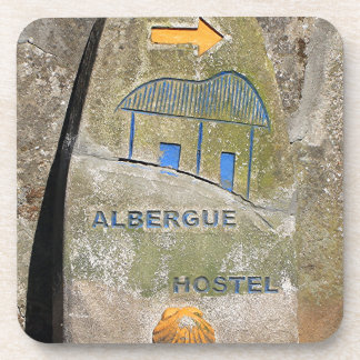 Albergue hostel sign, El Camino, Spain Beverage Coaster