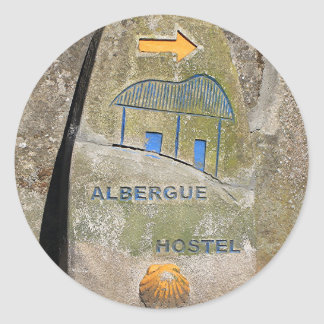 Albergue hostel sign, El Camino, Spain Classic Round Sticker