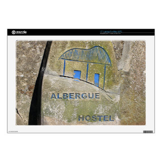 "Albergue hostel sign, El Camino, Spain Decal For 17"" Laptop"