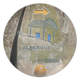 Albergue hostel sign, El Camino, Spain Dinner Plate