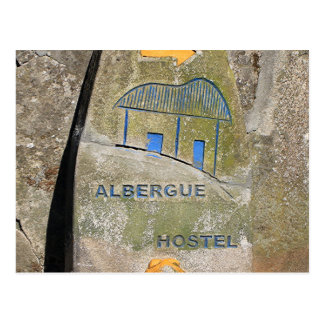 Albergue hostel sign, El Camino, Spain Postcard