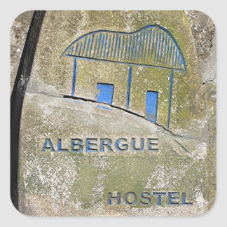 Albergue hostel sign, El Camino, Spain Square Sticker