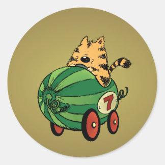 Albert and his watermelon ride classic round sticker