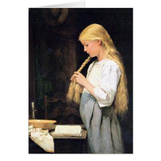 Albert Anker, Mädchen die Haare flechtend Card