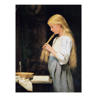 Albert Anker, Mädchen die Haare flechtend Poster