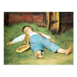 Albert Anker, Schlafender Knabe im Heu Postcard