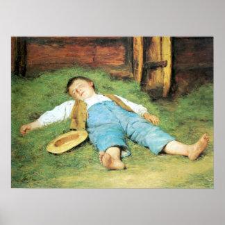 Albert Anker, Schlafender Knabe im Heu Poster