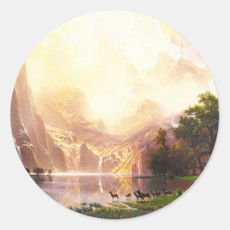 Albert Bierstadt Among the Sierra Nevada Round Stickers