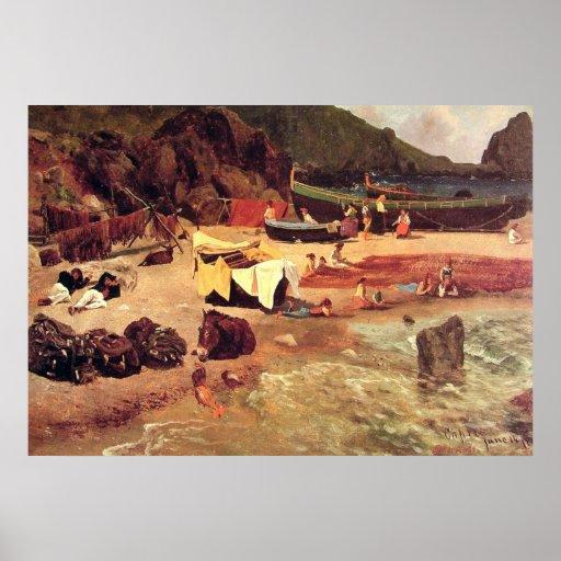 Albert Bierstadt - barco de pesca en Capri Póster