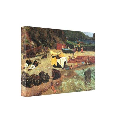 Albert Bierstadt - barcos de pesca en Capri Lona Estirada Galerías