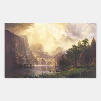 Albert Bierstadt en los pegatinas de las montañas