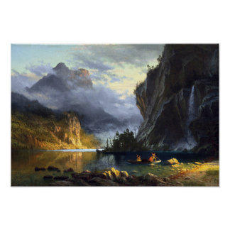 albert bierstadt - indians spear fishing 1862 poster