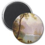 Albert Bierstadt, Kerns River Valley California Imán Redondo 5 Cm