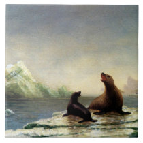 Albert Bierstadt painting, Seals Ceramic Tile