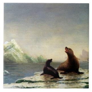 Albert Bierstadt painting, Seals Ceramic Tile