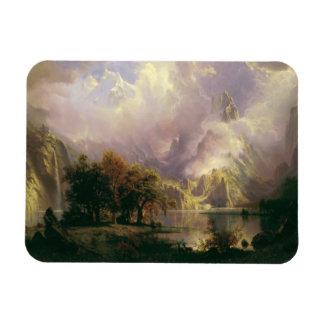 Albert Bierstadt - paisaje de la montaña rocosa Imán Rectangular