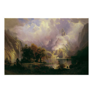 Albert Bierstadt - paisaje de la montaña rocosa Póster