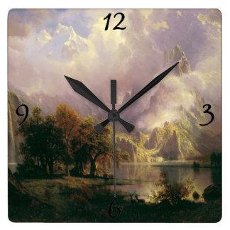 Albert Bierstadt Rocky Mountain Landscape Painting Square Wall Clock