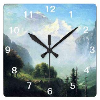Albert Bierstadt staubbach falls near lauterbrunne Square Wall Clock