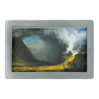 Albert Bierstadt Storm in The Mountains Rectangular Belt Buckles