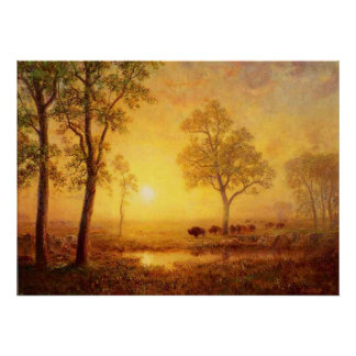 Albert Bierstadt - Sunset On The Mountain Poster