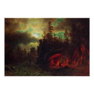 Albert Bierstadt-Trapper's camp Poster