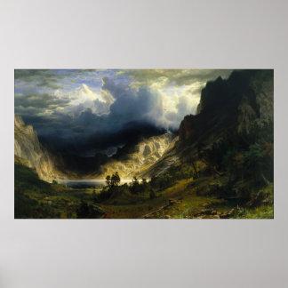 Albert Bierstadt - una tormenta en las montañas ro Poster
