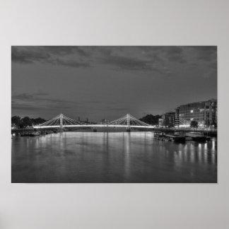 Albert Bridge and the River Thames at night Poster