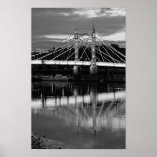 Albert Bridge at night in black and white Poster