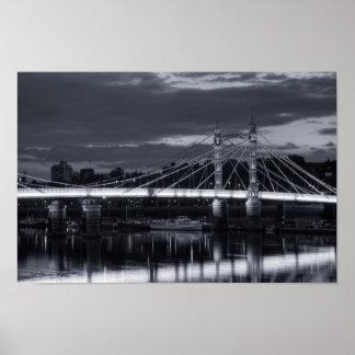 Albert Bridge in Black and white Poster
