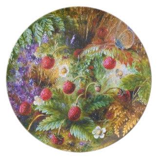 Albert Dürer Lucas: Fresas salvajes y mariposa Platos