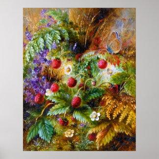 Albert Dürer Lucas: Fresas salvajes y mariposa Póster