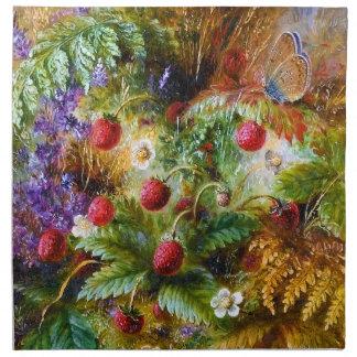Albert Dürer Lucas: Fresas salvajes y mariposa Servilleta Imprimida