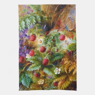 Albert Dürer Lucas: Fresas salvajes y mariposa Toalla De Cocina
