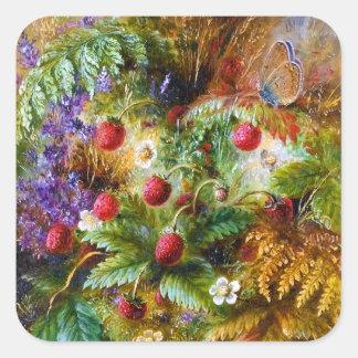 Albert Dürer Lucas: Wild Strawberries & Butterfly Square Sticker