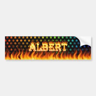 Albert real fire and flames bumper sticker design. car bumper sticker