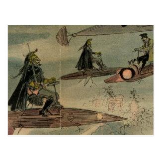 Albert Robida's Flying Machines Postcard