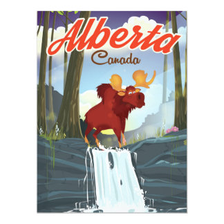 Alberta Canada cartoon travel poster Card