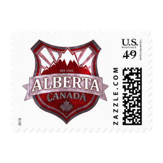 Alberta Canada red grunge shield postage stamps