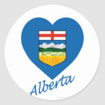 Alberta Flag Heart with Name Round Sticker