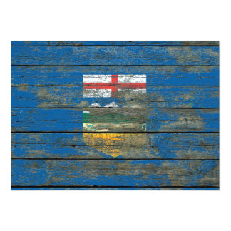 Alberta Flag on Rough Wood Boards Effect Card