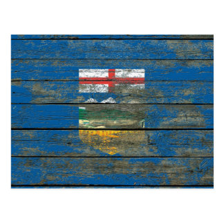 Alberta Flag on Rough Wood Boards Effect Postcard
