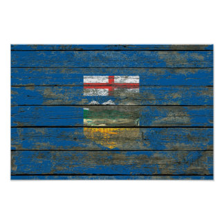 Alberta Flag on Rough Wood Boards Effect Poster