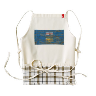 Alberta Flag on Rough Wood Boards Effect Zazzle HEART Apron