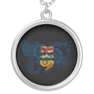 Alberta Flag Round Pendant Necklace