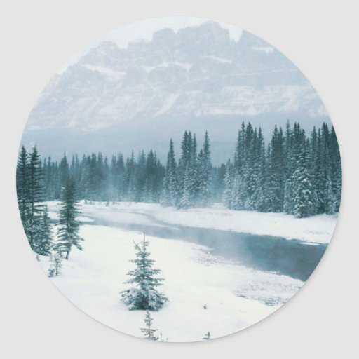 Alberta Snowy Scene Classic Round Sticker