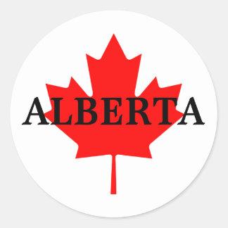 Alberta with Maple Leaf Classic Round Sticker